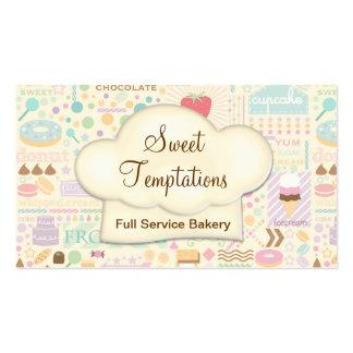 Boutique dulce de la panadería de las tentaciones tarjetas de visita