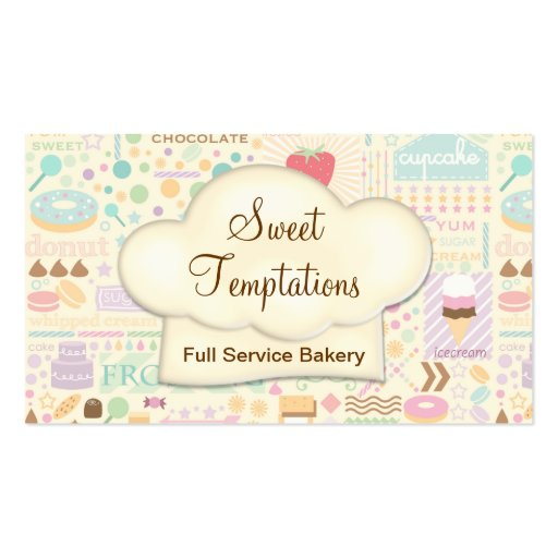 Boutique dulce de la panadería de las tentaciones tarjeta de visita