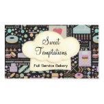 Boutique dulce de la panadería de las tentaciones tarjetas personales