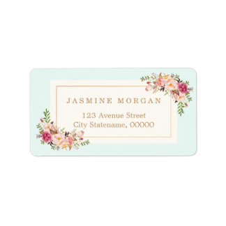 Boutique floral de la acuarela en colores pastel etiqueta de dirección