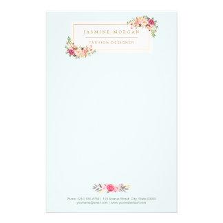 """Boutique floral de la acuarela en colores pastel folleto 5.5"""" x 8.5"""""""