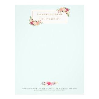 Boutique floral de la acuarela en colores pastel membrete