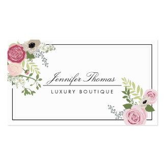Boutique floral del lujo del adorno del vintage tarjetas de visita
