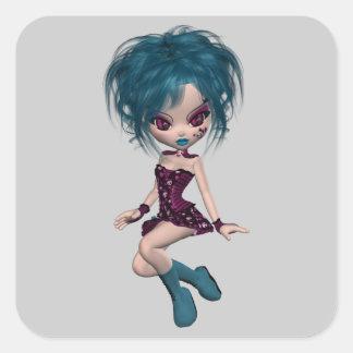 Boutique Gothique Mascot Goth Girl 9 Square Sticker