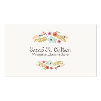 Boutique lindo de la moda del logotipo de la flor tarjetas de visita