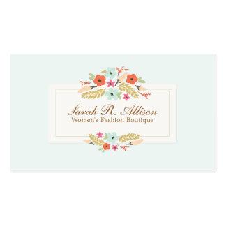 Boutique lindo de la moda del vintage de las flore tarjeta de visita