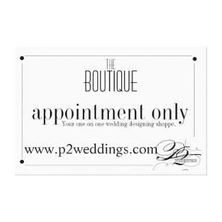 Boutique Shoppe by appointment only sign