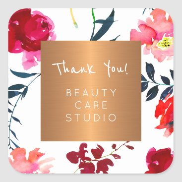 Professional Business Boutique studio copper metallic floral thank you square sticker