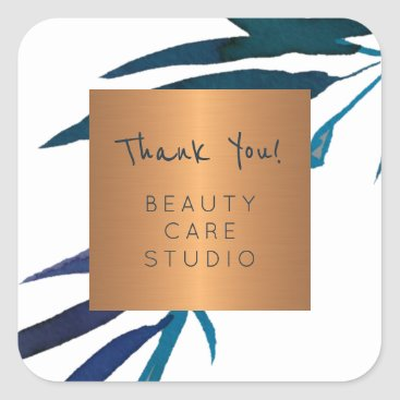 Professional Business Boutique studio copper metallic leaves thank you square sticker