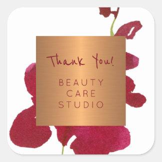 Boutique studio copper metallic orchid thank you square sticker