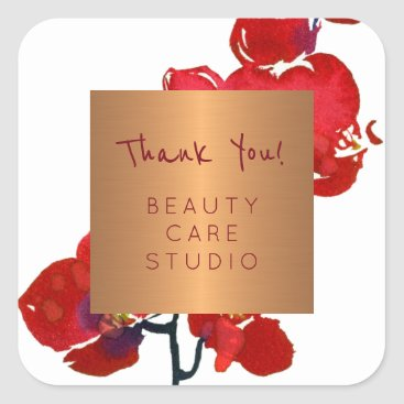 Professional Business Boutique studio copper metallic orchid thank you square sticker