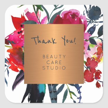 Professional Business Boutique studio copper metallic peonies thank you square sticker