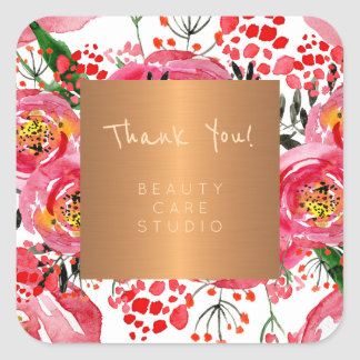 Boutique studio copper metallic peonies thank you square sticker