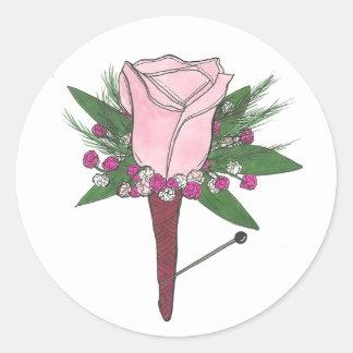 Boutonniere Pink Rose Wedding Flower Groom Sticker