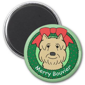 Bouvier Des Flandres Christmas 2 Inch Round Magnet
