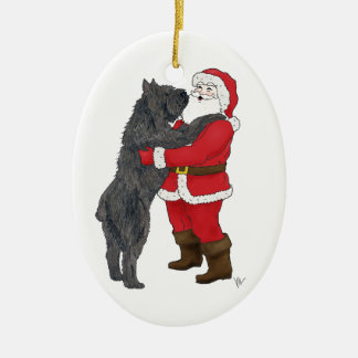 Bouvier des Flandres Christmas Greeting Ceramic Ornament