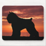 "Bouvier des Flandres Mouse Pad<br><div class=""desc"">Your favorite breed of dog silhouetted by a gorgeous sienna tone Pacific sunset.</div>"