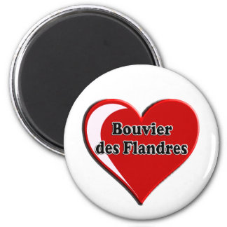 Bouvier des Flandres on Heart for dog lovers 2 Inch Round Magnet
