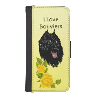 Bouvier des Flandres on Yellow Roses iPhone SE/5/5s Wallet