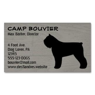 Bouvier des Flandres Silhouette Wood Grain Business Card Magnet