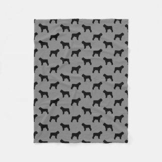 Bouvier des Flandres Silhouettes Pattern Grey Fleece Blanket