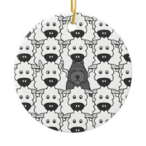 Bouvier in the Sheep Ceramic Ornament