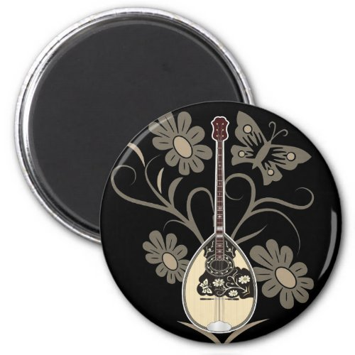 Bouzouki Butterfly Blossoms Round Magnet