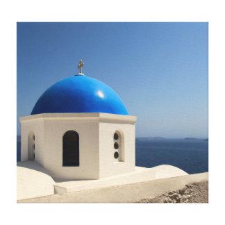 Bóveda azul en Santorini Lona Envuelta Para Galerias