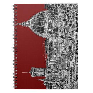 Bóveda de Florencia del rojo de vino Cuaderno