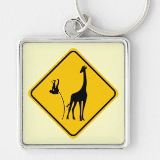 Bóveda de la jirafa llavero cuadrado plateado