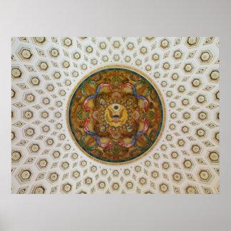 Bóveda del techo del mural y de las cajas en el ed impresiones