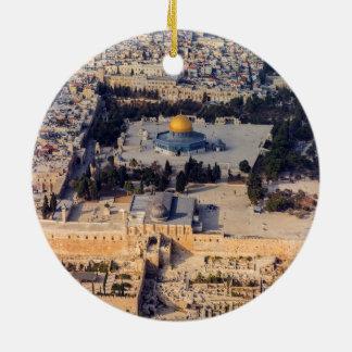 Bóveda vieja de Jerusalén de la ciudad de la Adorno Navideño Redondo De Cerámica