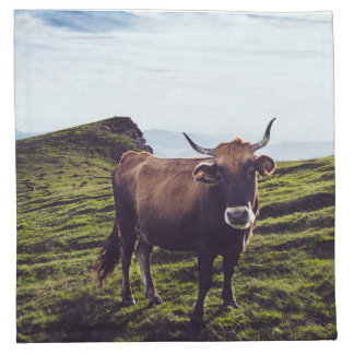 Bovine Cow on Beautiful Landscape Napkin