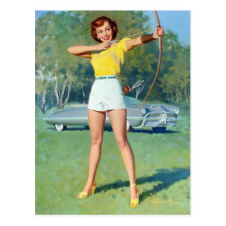 Bow and Arrow Pin Up Postcard