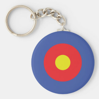 bow and arrow target - aim basic round button keychain
