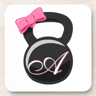 """Bow and Monogram Kettlebell Pink """"A"""" Beverage Coasters"""