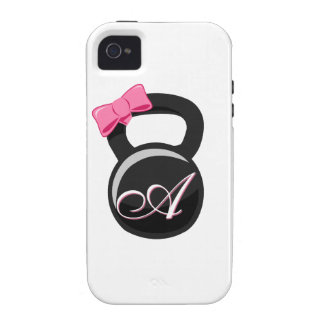 """Bow and Monogram Kettlebell Pink """"A"""" iPhone 4 Covers"""
