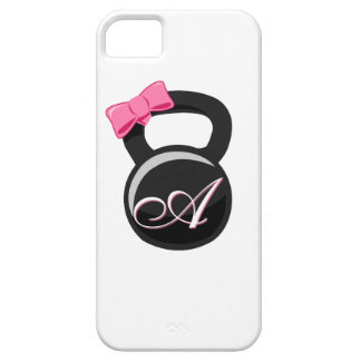 """Bow and Monogram Kettlebell Pink """"A"""" iPhone 5 Case"""