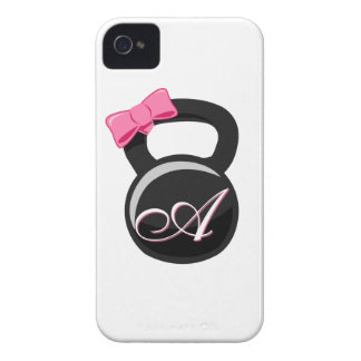 """Bow and Monogram Kettlebell Pink """"A"""" iPhone 4 Case-Mate Case"""