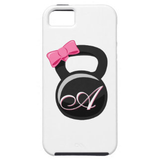 """Bow and Monogram Kettlebell Pink """"A"""" iPhone 5 Cover"""