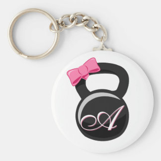 "Bow and Monogram Kettlebell Pink ""A"" Basic Round Button Keychain"