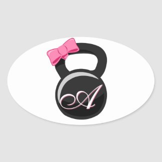 "Bow and Monogram Kettlebell Pink ""A"" Oval Sticker"
