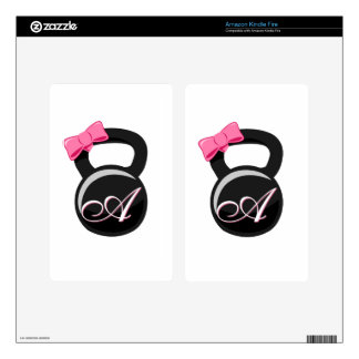 """Bow and Monogram Kettlebell Pink """"A"""" Skins For Kindle Fire"""