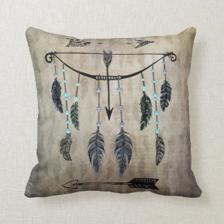 Bow, Arrow, and Feathers Throw Pillow