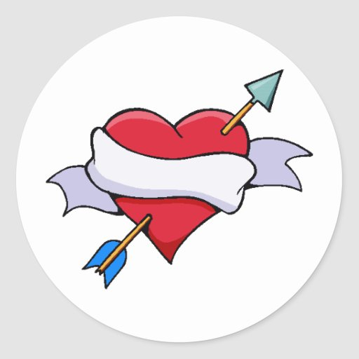 Bow & Arrow Valentine Heart With Blank Banner Classic Round Sticker