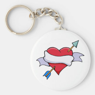 Bow & Arrow Valentine Heart With Blank Banner Keychain