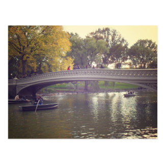 Bow Bridge and Boats, Central Park, NYC Postcard