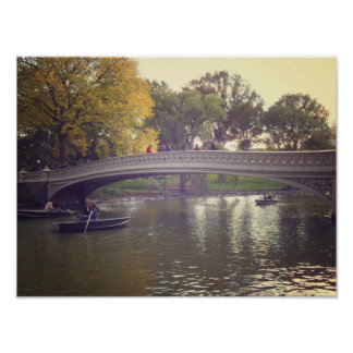 Bow Bridge and Boats, Central Park, Small Poster