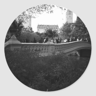 Bow Bridge, Black and White, Central Park, NYC Classic Round Sticker