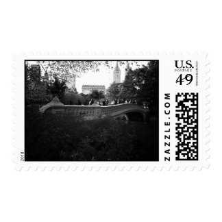 Bow Bridge, Black and White, Central Park, NYC Stamps